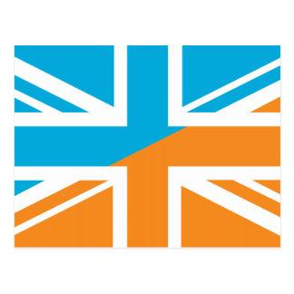 Orange and Blue Union Jack British(UK) Flag Postcard