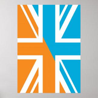 Orange and Blue Union Jack British UK Flag Posters