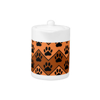 Orange And Brown Chevron With Dog Paw Pattern