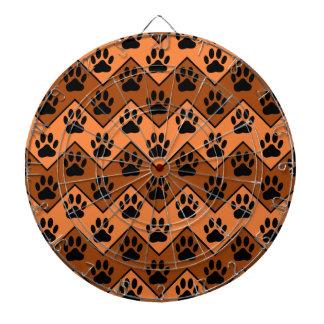 Orange And Brown Chevron With Dog Paw Pattern Dartboard