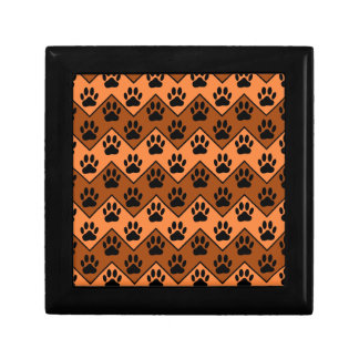 Orange And Brown Chevron With Dog Paw Pattern Gift Box