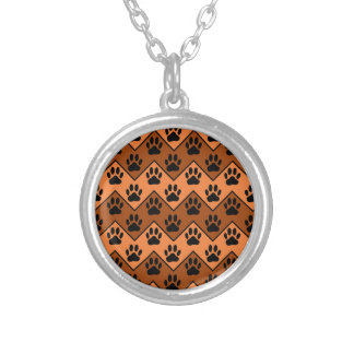 Orange And Brown Chevron With Dog Paw Pattern Silver Plated Necklace