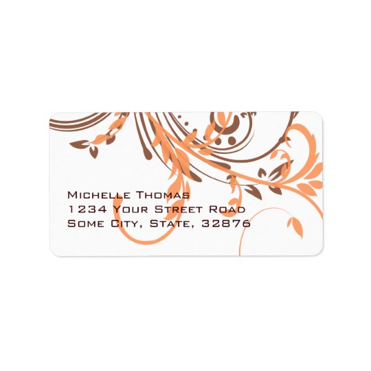 Orange and Brown Double Floral Return Address Label