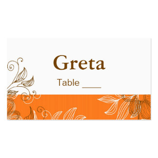 Orange and Brown Floral Table Place Cards Business Card Templates