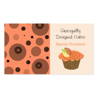 Orange and Brown Fruit Cupcake Business Cards