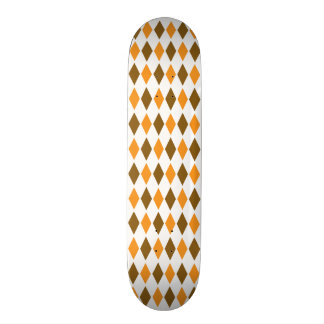 Orange and Brown Retro Diamond Pattern Design Skateboard Decks