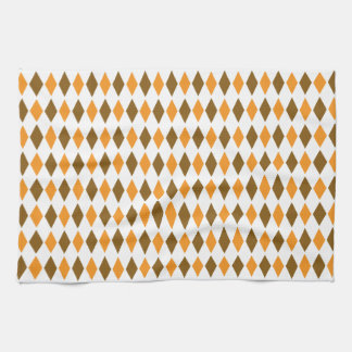 Orange and Brown Retro Diamond Pattern Design Tea Towel