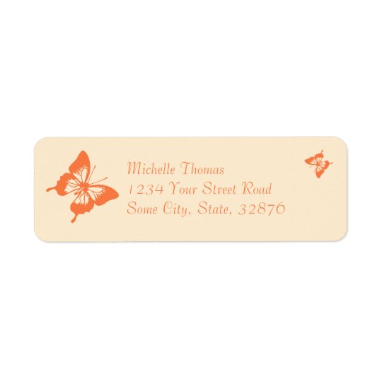 Orange and Cream Butterfly Wedding Return Address Label