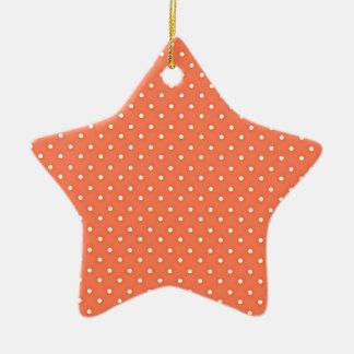 Orange and Cream Vintage Polka Dots Pattern Ceramic Star Decoration