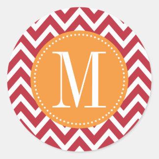 Orange and Dark Red Chevron Custom Monogram Classic Round Sticker