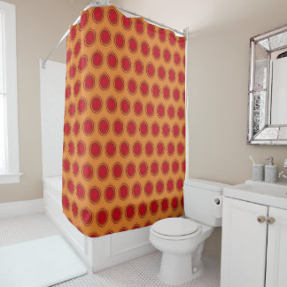 Orange and Dark Red Polka Dots Swirling Circles Shower Curtain