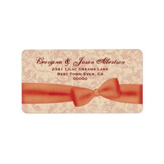 Orange and Ecru Bow and Damask A01 Wedding Address Label