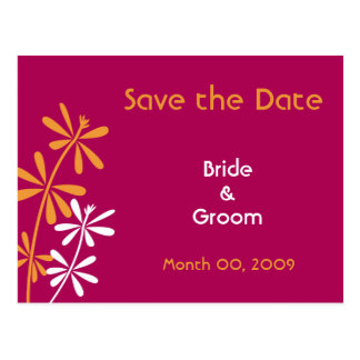 Orange and Fuchsia Save the Date Postcards