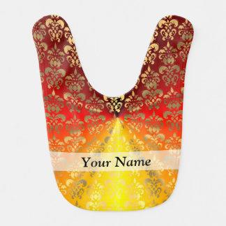 Orange and gold  damask pattern bib