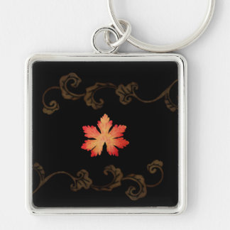 Orange And Gold  Leaves Key Ring