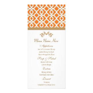 Orange and Gold Moroccan Menu Customized Rack Card