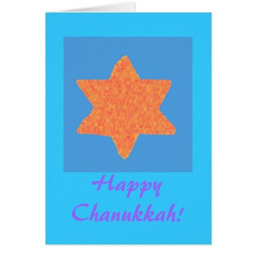 Orange and gold star of David Chanukkah card
