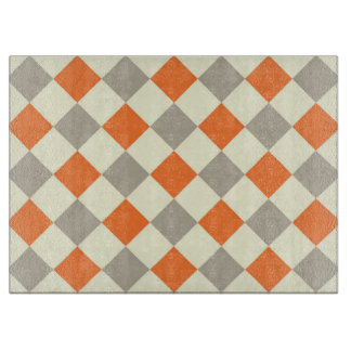 Orange and Gray Checkered Cutting Board
