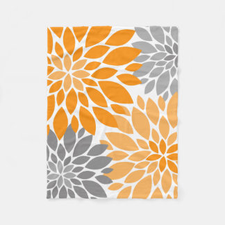 Orange and Gray Chrysanthemums Floral Pattern Fleece Blanket