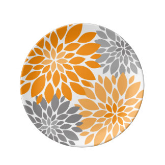 Orange and Gray Chrysanthemums Floral Pattern Plate