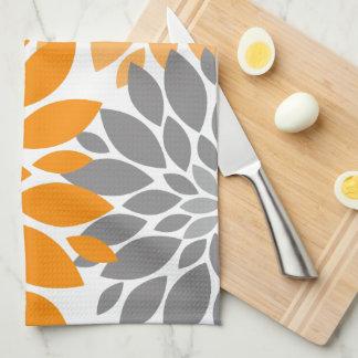 Orange and Gray Chrysanthemums Floral Pattern Tea Towel