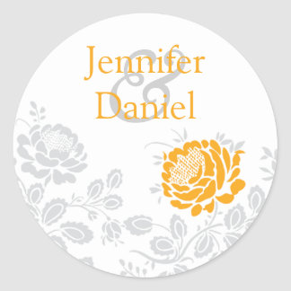 Orange and Gray Damask Envelope Seal Classic Round Sticker