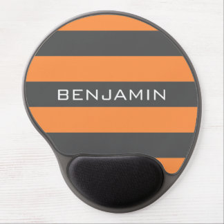 Orange and Gray Rugby Stripes with Custom Name Gel Mouse Pad