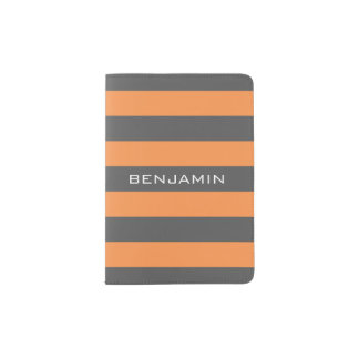 Orange and Gray Rugby Stripes with Custom Name Passport Holder