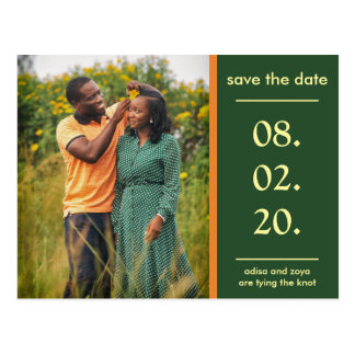 Orange and Green African Couple Save The Date Postcard