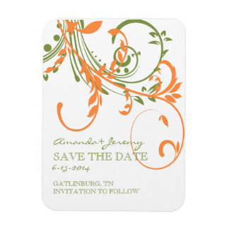 Orange and Green Double Floral Save The Date Rectangle Magnet