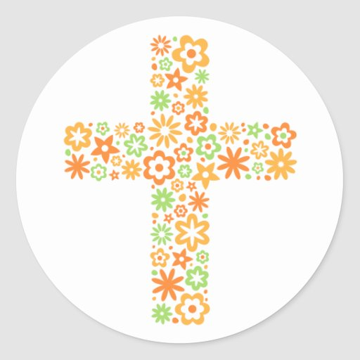 Orange and green floral cross easter seal sticker