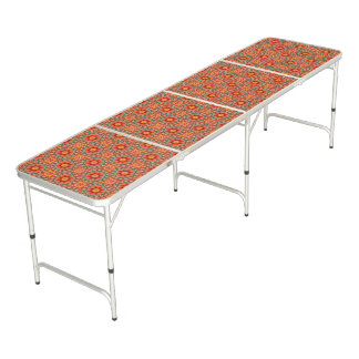 Orange And Green Floral Pattern Beer Pong Table
