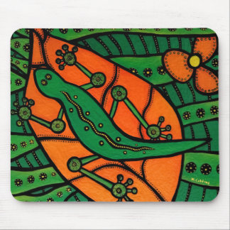 Orange And Green Gecko Lizard Mouse Pad