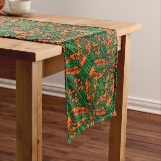 Orange And Green Gecko Lizard Pattern Short Table Runner