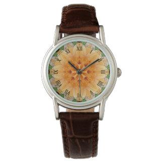 Orange and Green Kaleidoscope Flower Watches
