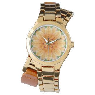 Orange and Green Kaleidoscope Flower Wristwatch
