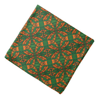Orange And Green Lizard Pattern Bandana