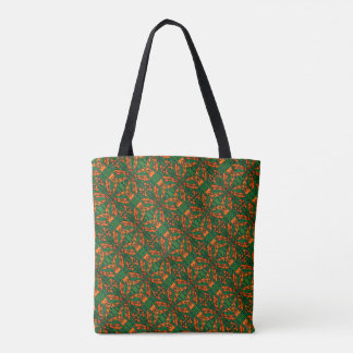 Orange And Green Lizard Pattern Tote Bag