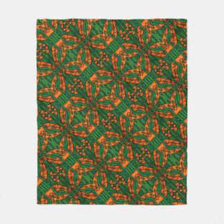 Orange And Green Lizards Gecko Pattern Fleece Blanket