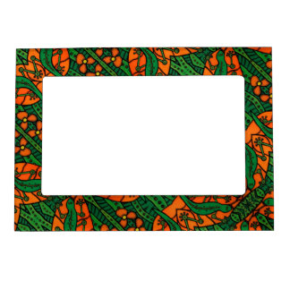 Orange And Green Lizards Gecko Pattern Magnetic Picture Frame