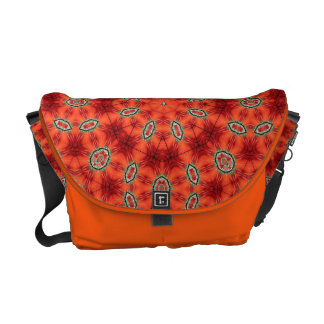 Orange and Green Mandala Pattern Messenger Bags