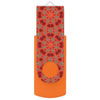 Orange and Green Mandala Pattern USB Flash Drive