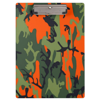 Orange and Green Military Camouflage Textures Clipboards