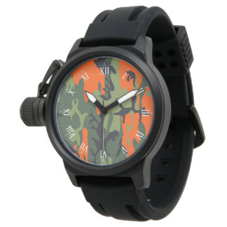 Orange and Green Military Camouflage Textures Watch