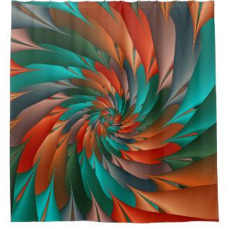 Orange and Green Spiral Fractal Shower Curtain