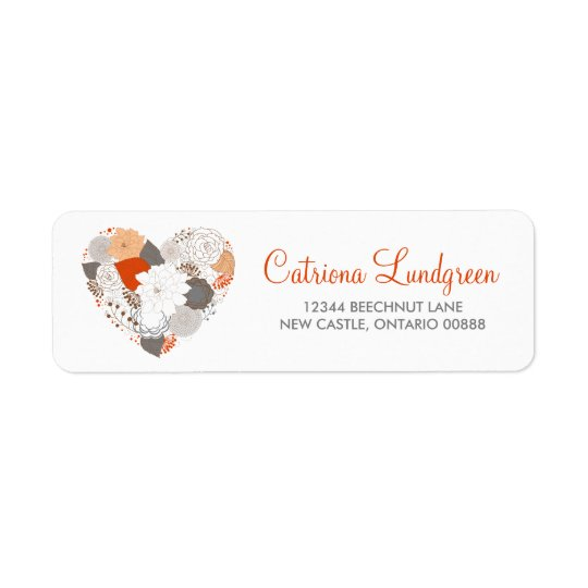 Orange and Grey Floral Heart Wedding Address Label