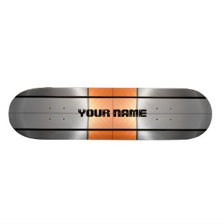 Orange and Grey Shiny Stainless Steel Metal 2 Skateboards