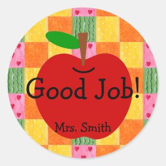 Orange and Hearts Patchwork Reward Classic Round Sticker