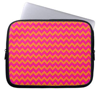 Orange and Hot Pink Chevron Pattern Laptop Sleeves