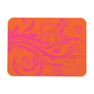 Orange and Hot Pink Floral Chic Wedding Rectangle Magnets